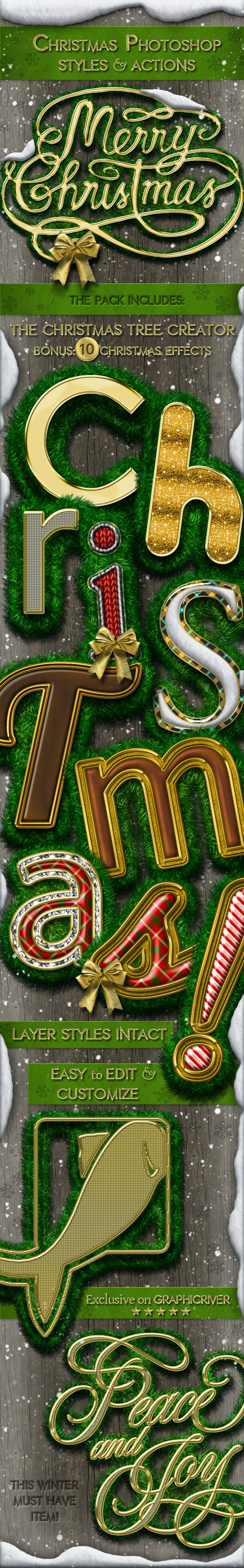Christmas Styles Photoshop Creation Kit - Text Effects Actions