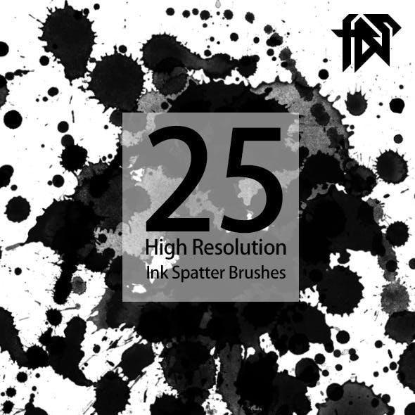 25 High Resolution Ink Splatter Brushes