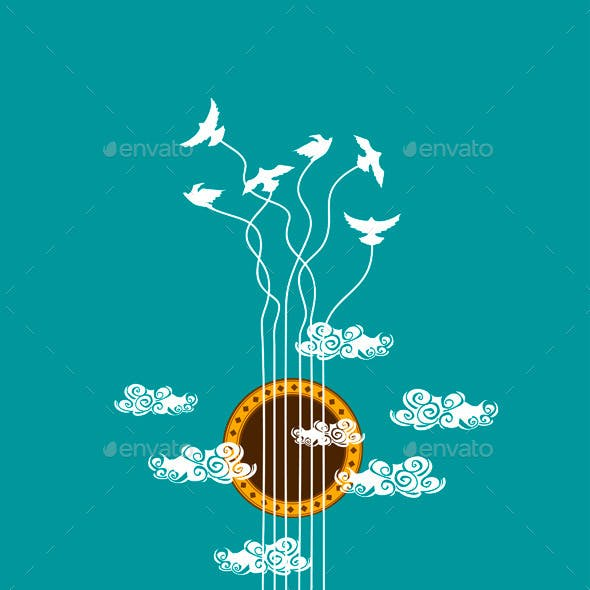 Musical Illustration with Concept Guitar