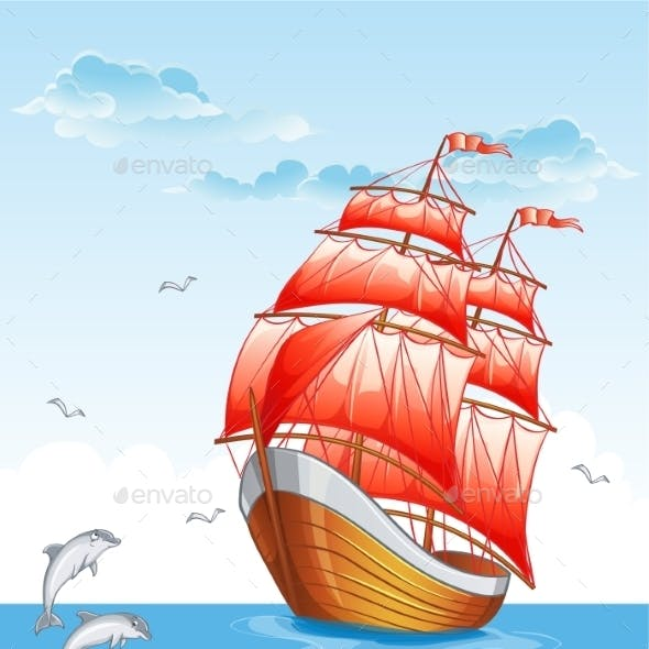 Children's Illustration of a Sailboat with Red Sail