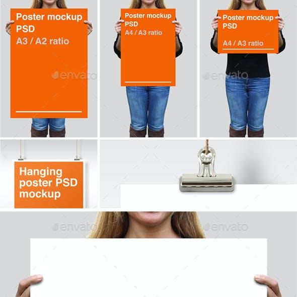 4 Poster PSD Mockups