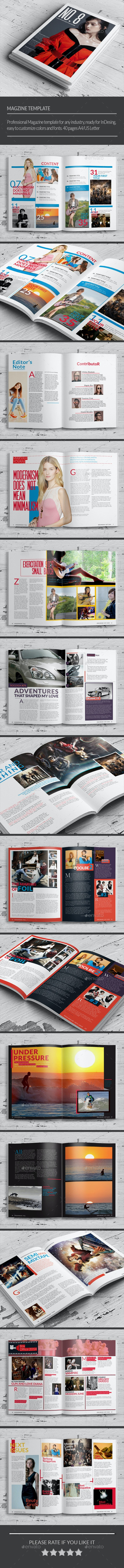 No.8 Magazine Template - Magazines Print Templates