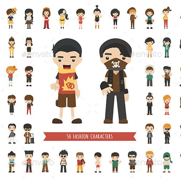 Set of Fashion Characters