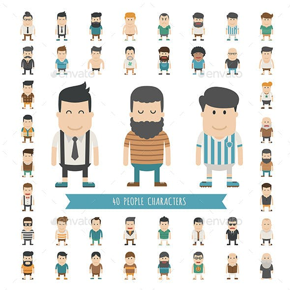 Set of 40 People Characters