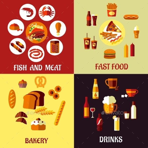 Assorted Flat Food Icons