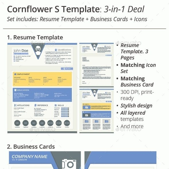 3-in-1 Deal: Resume Template + Icons + Business Card, Cornflower S Template