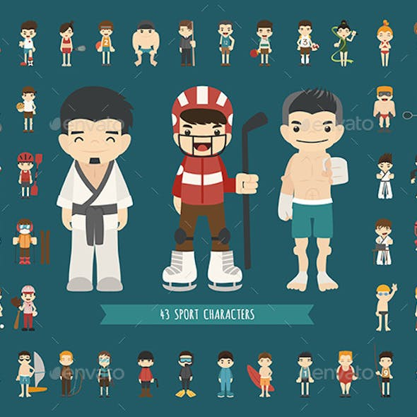 Set of 43 Sport Characters, EPS10 Vector Format
