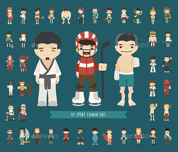 Set of 43 Sport Characters, EPS10 Vector Format - People Characters