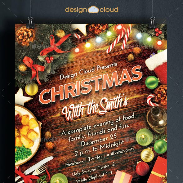 Christmas Family Dinner and Party Flyer Template
