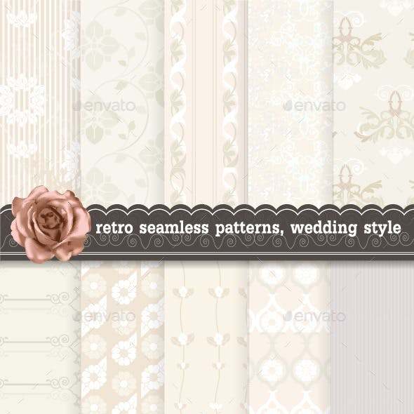 Retro Seamless Patterns, Wedding Style