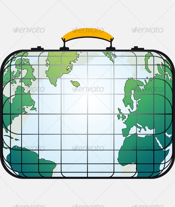 Suitcase like world map - Travel Conceptual