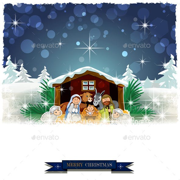 Nativity with Snow Covered Hut