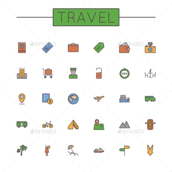Vector Colored Travel Line Icons