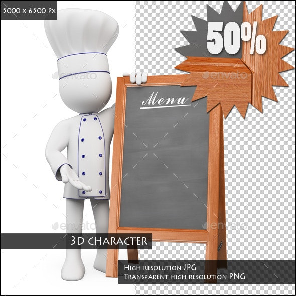 3D White People. Chef with a Blank Menu - Characters 3D Renders