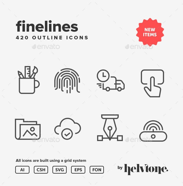 Fine Line Outline Icon Pack - Technology Icons