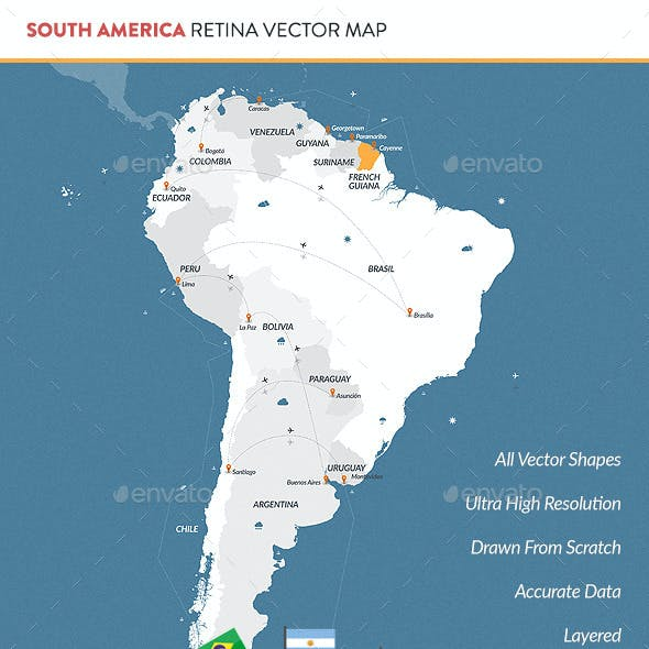South America Retina Vector Map