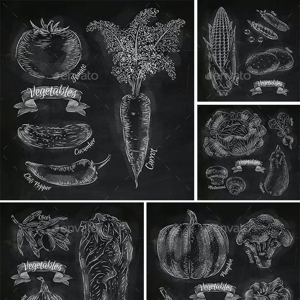 Vegetables Drawn in Chalk
