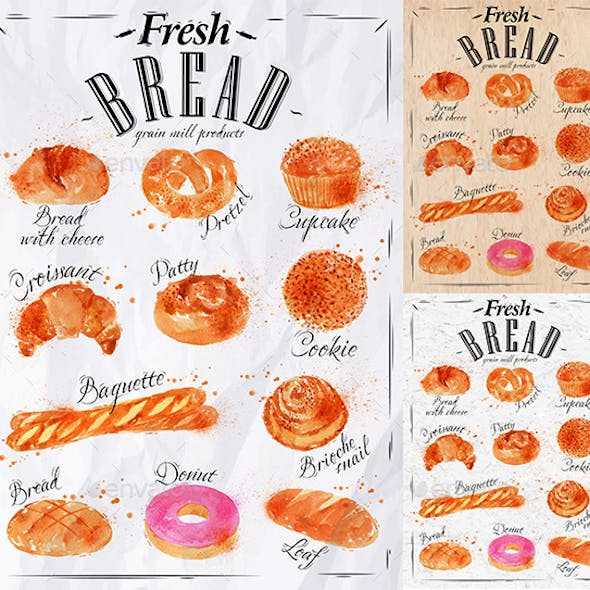 Bakery Products Painted Watercolor Poster