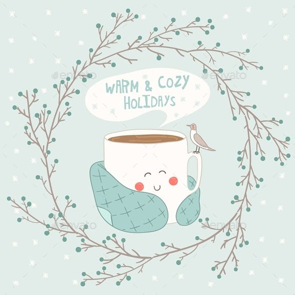 Holiday Card with Cute Cup