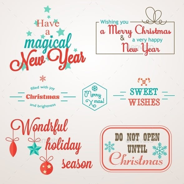 Collection of Christmas and New Year Greeting Set