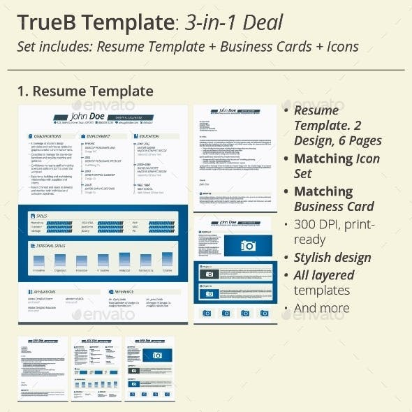3-in-1 Deal: Resume Template + Icons + Business Card, TrueB Template
