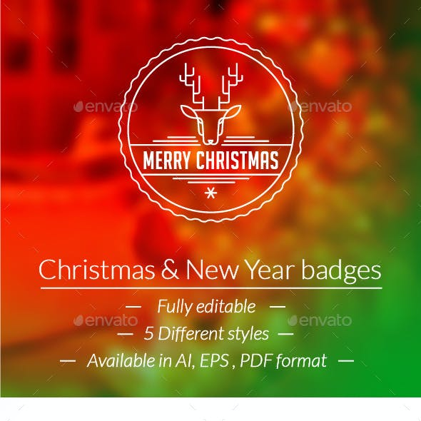 Christmas & New Year Badges Logo Pack