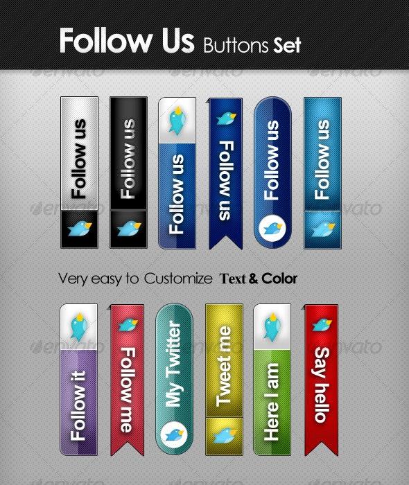 Follow Us - Tabs Set - Buttons Web Elements
