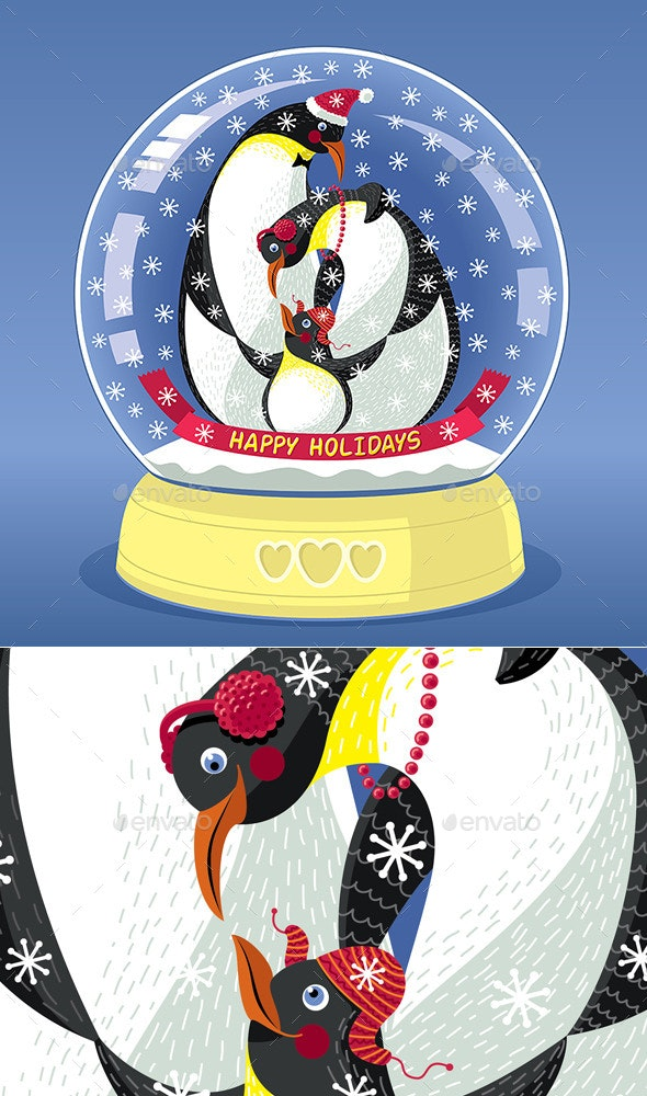 Snowing Globe with Family of Three Penguins - Animals Characters