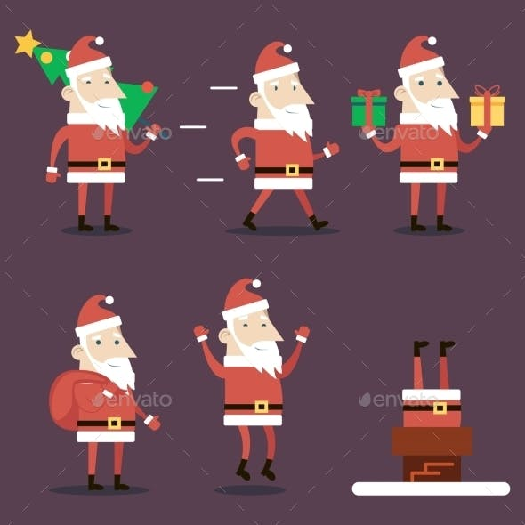 Santa Claus Cartoon Characters Set Poses Emotions