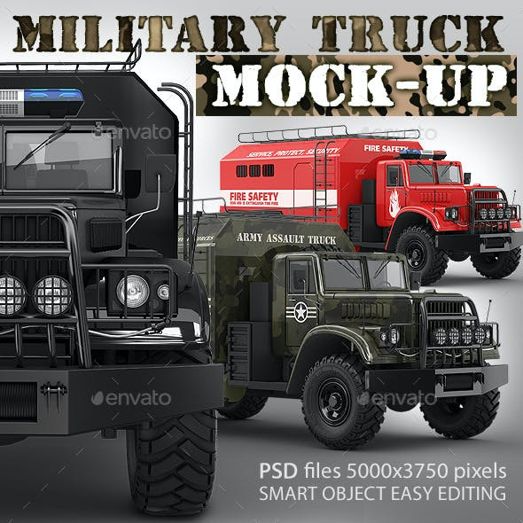 Military truck mock-up. Assault army or support car