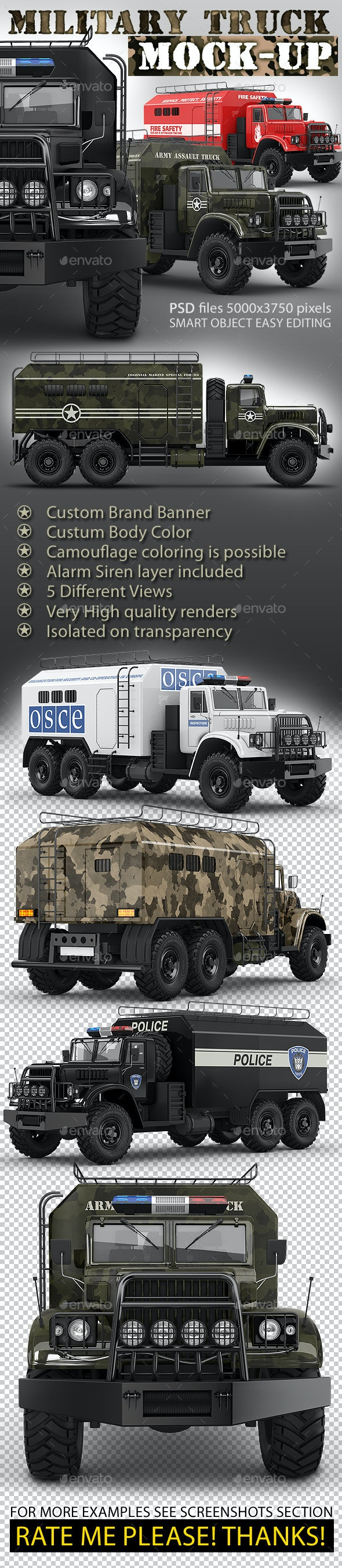 Military truck mock-up. Assault army or support car - Vehicle Wraps Print