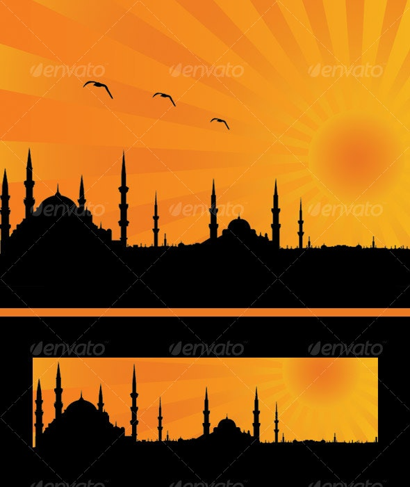Illustrated sunset view of ISTANBUL - Buildings Objects