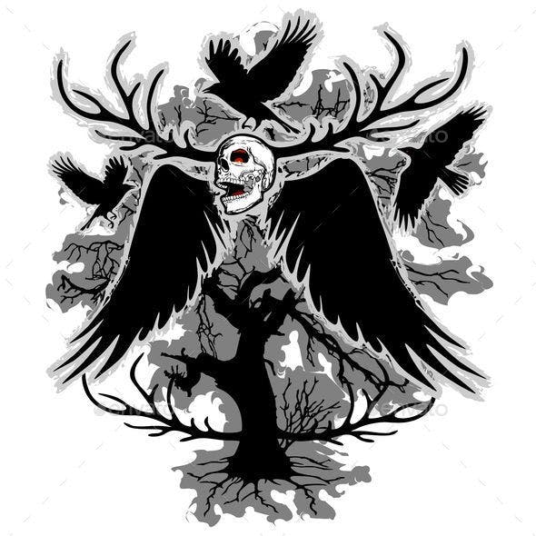Nightmare Skull and Crows