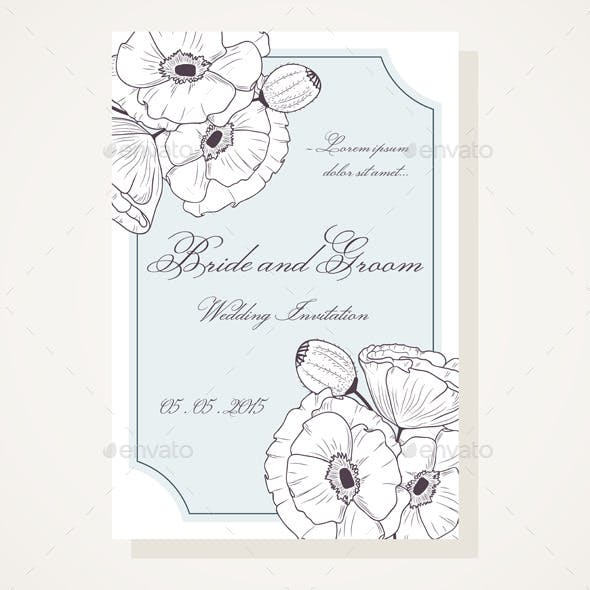 Wedding Shover with Outlined Poppies