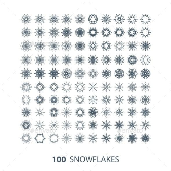 Set of 100 Snowflakes - Decorative Symbols Decorative