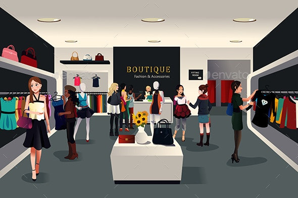 Inside Modern Clothing Store - Commercial / Shopping Conceptual