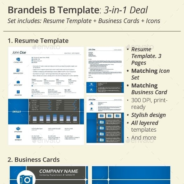 3-in-1 Deal: Resume Template + Icons + Business Card, Brandeis B Template