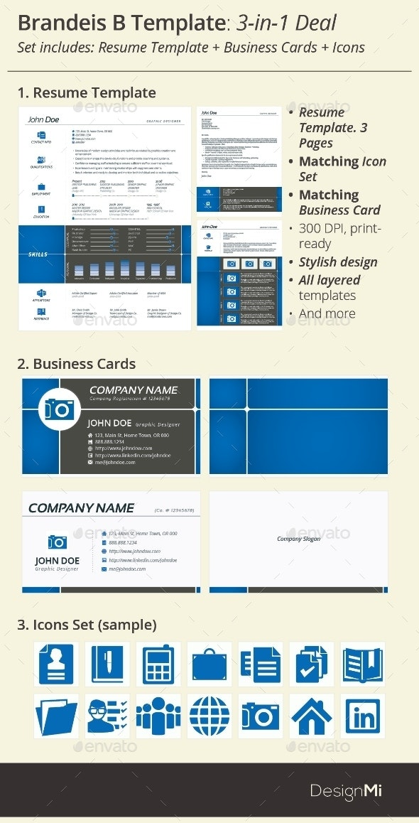 3-in-1 Deal: Resume Template + Icons + Business Card, Brandeis B Template - Resumes Stationery