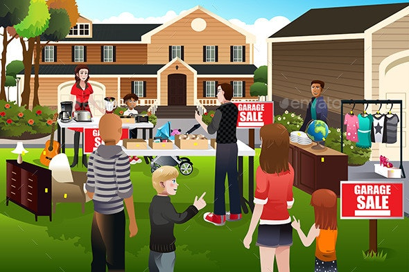 People Having a Garage Sale - People Characters