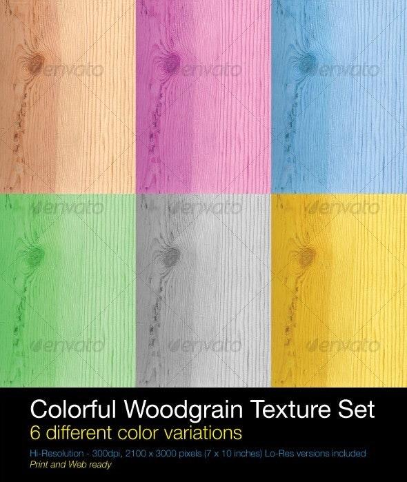 Colorful Woodgrain Texture Set - Wood Textures