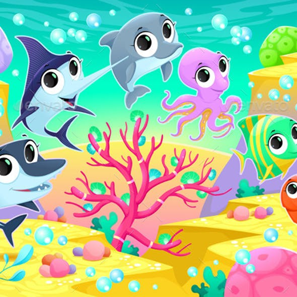 Marine Animals Under the Sea