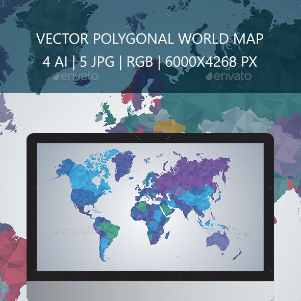 World Map Polygon Vector