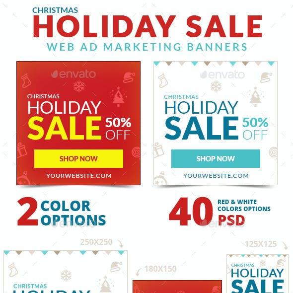 Christmas Holiday Sale Web Ad Marketing Banners