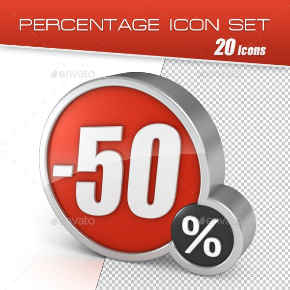 20 Percentage Icons Set