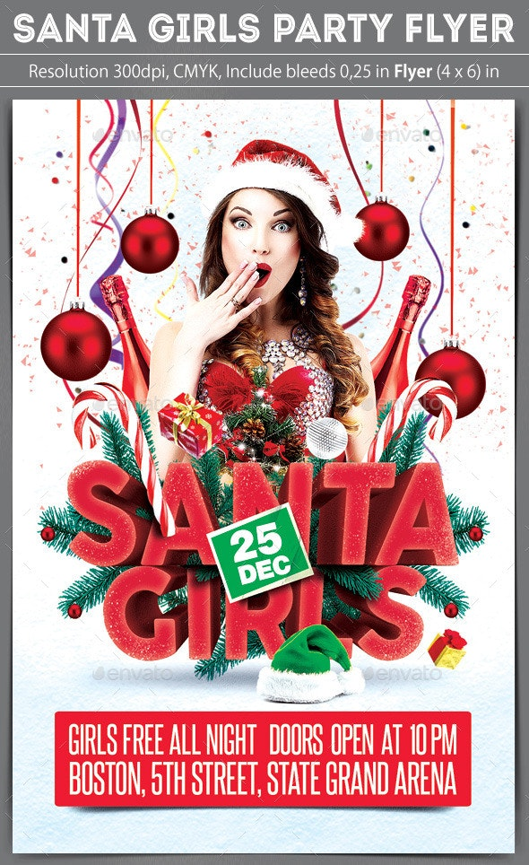 Santa Girls Party Flyer - Clubs & Parties Events