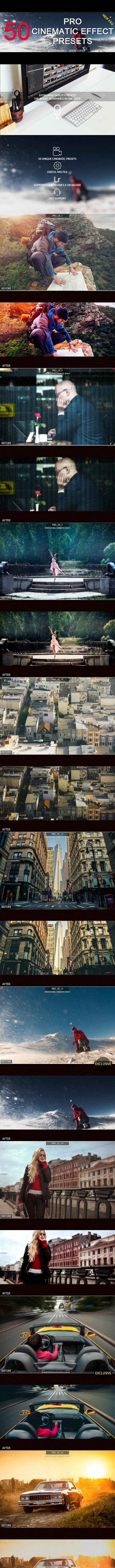 50 Pro Cinematic Effect Presets - Cinematic Lightroom Presets