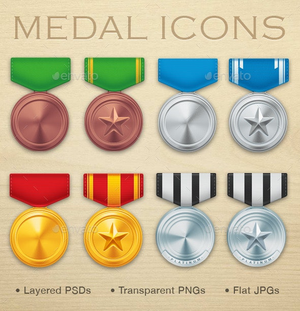 Military Medal Icons - Man-made objects Objects