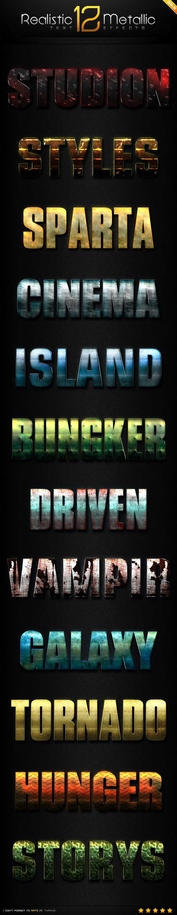 12 Realistic Metallic Text Effect Styles GO.5 - Text Effects Styles