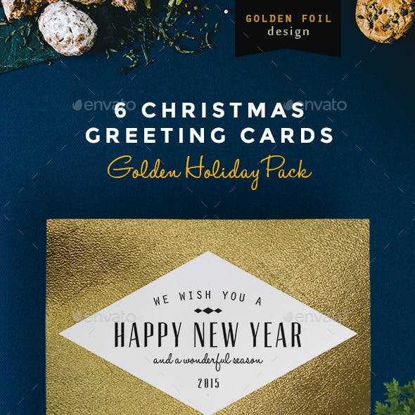 6 Christmas Greeting Cards - Golden Foil Design
