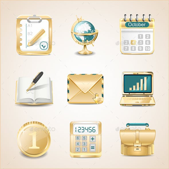 Business Icons of Gold